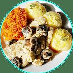 Polędwiczki wieprzowe w sosie z leśnych grzybów