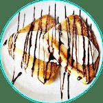 Naleśniki z serem, śmietaną i cukrem ( polewa czekoladowa )