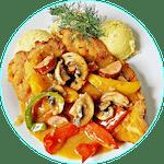 Filet panierowany w sosie myśliwskim
