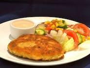 Wegetariański kotlet z ciecierzycy (falafel) , ryż z warzywami , buraczki