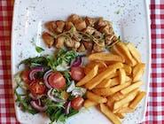 Kawałki kurczaka w przyprawach greckich, coleslaw lub mix sałat, frytki belgijskie i sosy