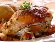 Pieczona ćwiartka kurczaka z czosnkiem i rozmarynem