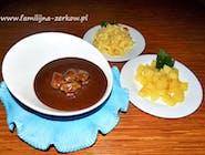 Czernina / czarna polewka z żołądkami kaczymi, makaron lub ziemniaki