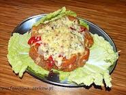 Kotlet familijny ze schabu zapieczony prawdziwym serem z papryką i szynka swojską wędzoną dymem olchowym