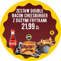 Zestaw Double Bacon Cheeseburger z dużymi frytkami za 21,99 zł