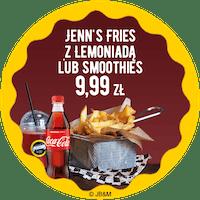 Duże Oryginal Jenn's Fries napój z dolewką za 9,99 zł