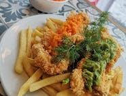 Zestaw: Chrusty drobiowe panierowane w panko, z puree z marchewki i zielonego groszu + frytki / ziemniaki / ryż + surówka + Zupa