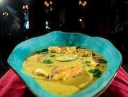 Tajska zupa kokosowa z krewetkami, ryż jaśminowy