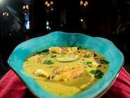 Tajska zupa kokosowa z kurczakiem, ryż jaśminowy