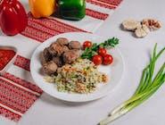 Frykadelki smażone z ryżem i warzywami