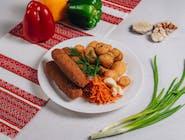Kiełbaski lwowskie z ziemniakami wiejskimi
