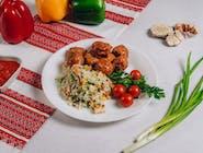 Frykadelki w sosie z ryżem i warzywami