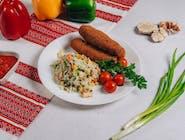 Kiełbaski lwowskie z ryżem i warzywami