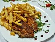 Pulpe de pui  dezosate + garnitură + salată + chiflă