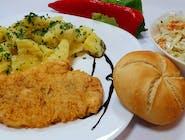 Piept de pui parizian + garnitură + salată + chiflă