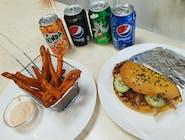 Kebab MENU s kurkumovou  žemľou  s batátovými hranolkami