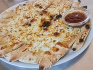 Pizza štangle natreté s cesnakovým dipom, posypané so syrom eidam + mozzarela - 250g