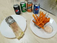 Kebab MENU s tortillou s batátovými hranolkami