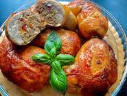Zestaw Dnia - Zupa dnia +Udko luzowane  faszerowane  Frykadelą porową , ziemniaczki opiekane , mizeria