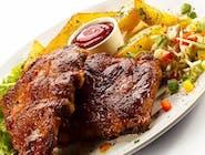 Zestaw Dnia+ Zupa Dnia + Karkówka z grilla z musztardowym BBQ , ziemniaczki , Pieczona brukselka