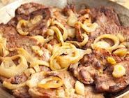 Zestaw Dnia-Zupa Dnia +  Karkówka  Duszona na dziko ,młody ziemniak i surówka