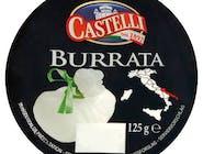"""BURRATA. SER Z POŁĄCZENIA MOZZARELLI I ŚMIETANKI. Specjał z regionu Apulia - południe Włoch nad Adriatykiem i morzem Jońskim. Najpierw powstaje """"saszetka"""" mozzarelli, następnie wypełniana jest twarogiem i śmietanką. """"Burrata"""" oznacza """"maślana"""" co odnosi się do śmietankowego smaku i maślanej konsystencji wnętrza produktu. Podawanie: z pomidorami, z bazylią, z oliwą, miętą, cytryną i świeżo zmielonym pieprzem, najlepiej smakuje ze świeżym, chrupiącym pieczywem. Kubek 125g"""
