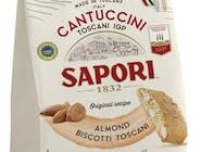 WŁOSKIE CIASTECZKA NR 1 CANTUCCINI Z MIGDAŁAMI - Cantuccini Sapori to niepowtarzalne, podwójnie upieczone herbatniki wg toskańskiej receptury  Zawierają migdały (20%) w połączeniu z delikatną nutą wanilii i cytrusów. Chrupiąca rozkosz, która pobudza zmysły!  Świeże jajka, świeże mleko, migdały, cukier i miód to sekrety tradycyjnej receptury, tworząc nierozerwalna więź z Toskanią.  Wyróżnione Chronionym Oznaczeniem Geograficznym (IGP), dzięki temu są jednymi z najbardziej popularnych włoskich ciastek na całym świecie. Oznaczenie jest gwarancją produkcji ciasteczek wyłącznie na obszarze administracyjnym Toskanii.