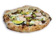 Pizza Mare e Monti - tradycyjna włoska pizza z krewetkami i grzybami