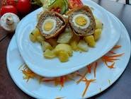 Škótske vajce, zemiaková kaša, šalát