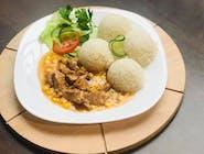 Kuracie kocky s kukuricou, ryža, šalát