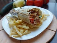 Tortilla s kebab mäsom hranolky