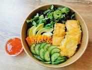Bowl z łososiem pieczonym w tempurze