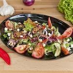 Sałatka Vege - mix sałat, czerwona cebula, pomidor, ogórek, papryka, sos vinegret, prażone migdały