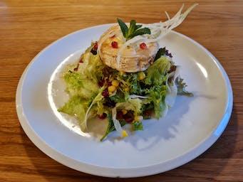 Salátové listy s grilovaným kozím sýrem, fenyklem, granátovým jablkem a limetkovým dresinkem