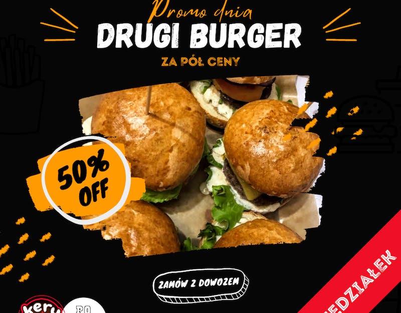 W Poniedziałki drugi burger za pół ceny