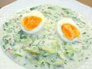 Zupa Chłodnik z ogórka i szpinaku z jajkiem