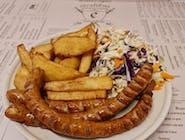 Meniu Carnati cabanos afumati prajiti+cartofi prajiti+salata de varza