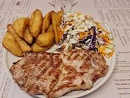 Meniu Ceafa de porc la gratar+cartofi prajiti+salata de varza