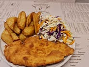 Meniu snitel vienez+cartofi prajiti+salata de varza