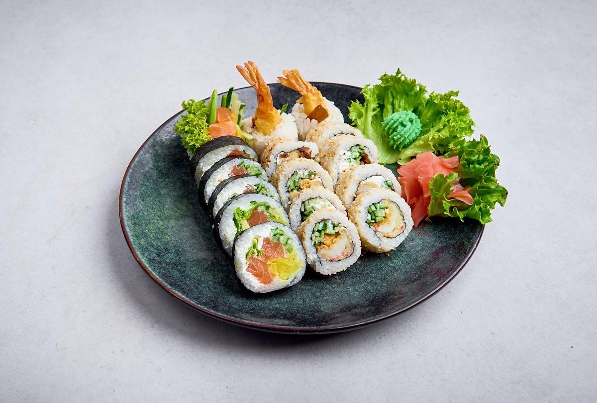 Lunch  (14szt) + Japońska zupa Misoshiru z łososiem