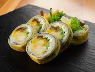 Tamago Maki z dorszem w tempurze, serkiem Philadelphia i warzywami
