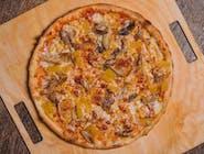 """27. Pizza 50/50 """"Pół na pół"""" ( 2 dowolne rodzaje pizzy do wyboru w proporcjach 50/50 każdej- nazwy pizz proszę podać w uwagach )"""