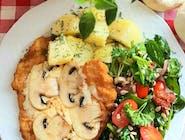 Zestaw obiadowy z pieczarką i serem