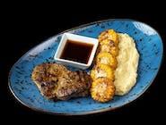 Stek wieprzowy podawany z puree wasabi i sosem ponzu