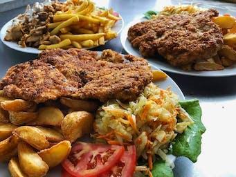 Schabowy, filet w panierce, zestaw gyros