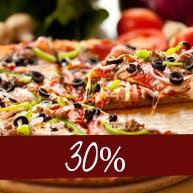 Kup dowolną pizzę o rozmiarze 28 cm - druga pizza 30% TANIEJ.