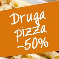 Druga pizza 40cm - 50% taniej